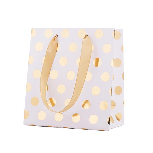 Gold and Silver Polka Dot Paper Bag