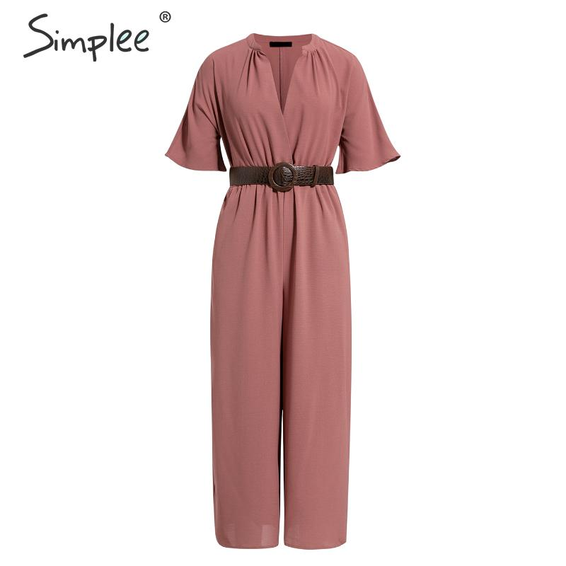 Simplee Sexy deep v-neck women jumpsuit romper Elegant office ladies belt jumpsuit Solid soft chic female playsuit long overalls