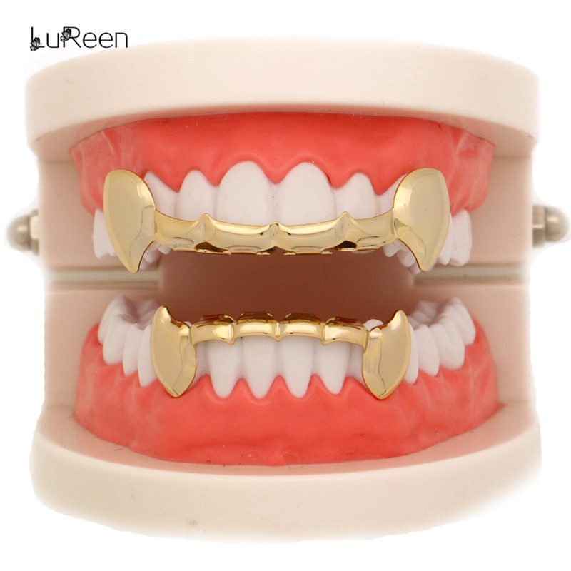 LuReen Half Vampire Fang Gold Zähne Grills Set Top Bottom Dental - Modeschmuck - Foto 6