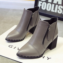 2016 Fashion  Ankle Boot Autumn and winter Shoes High heels Martin boots Women Shoes Leather Black Silver Red gray Red Botas Muj