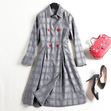 Plaid double breasted long a line trench coats 2017 new brand runway high quality women autumn