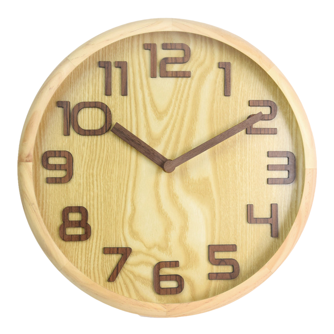 30Cm Beautiful Wall Clocks Fashionable Style 3D Arabic Numerals Solid Wood Absolutely Silent Bedroom Decor Wall Clock
