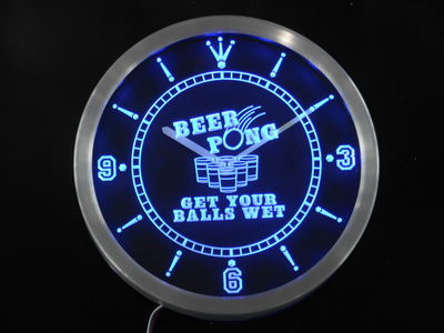 nc0378 Beer Pong Get your Balls Wet Bar Neon Light Signs LED Wall Clock