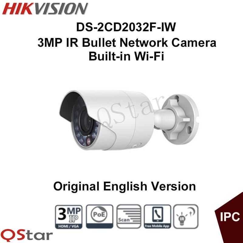 Hikvision Original English outdoor WIFI Camera DS-2CD2032F-IW 3MP IR Bullet Network Camera POE WIFI 3D DNR DWDR BLC CCTV Camera hikvision ds 2ce16c0t ir 3 6mm original bullet camera outdoor analog camera ir tvi 720p 1mp