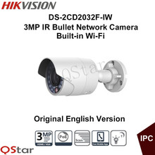 Hikvision Original English outdoor WIFI Camera DS-2CD2032F-IW 3MP IR Bullet Network Camera POE WIFI 3D DNR DWDR BLC CCTV Camera