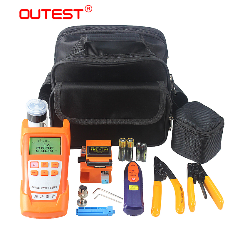 OUTEST 9 In 1 Fiber Optic FTTH Tools Kit +Fiber Cleaver +Optical Power Meter 5km +Visual Fault Locator Wire stripper SKL-60S outest dxp 50d fiber optical power meter 70 10dbm visual fault locator 10km fiber optical cable tester pen 10mw