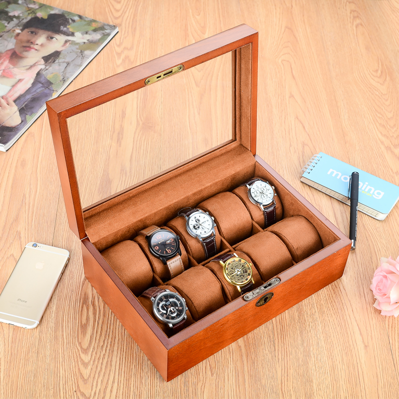 MEI 10 gniazd marki drewniane pudełko na zegarek luksusowe pudełko na zegarki z kluczem poduszka zegarek biżuteryjny prezent przypadku wyświetlacz zegarek męski pudełko A055 w Pudełka do zegarków od Zegarki na  Grupa 1