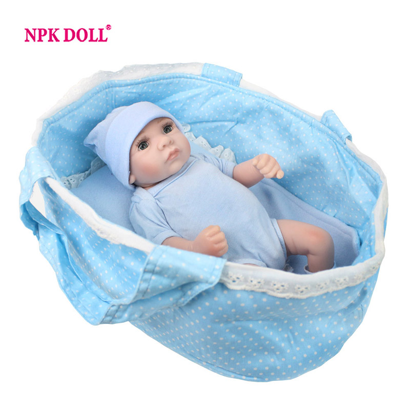 NPKDOLL Handmade Reborn Dolls Boy Full Silicone 11 Inch 28cm Full Body Silicone Vinyl Lifelike Baby/Blue Sleeping Bag Playmate