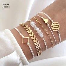 Tocona 6 teile/satz Böhmischen Herz Pfeil Charme Kette Armbänder Set für Frauen Weiß Seil Kette Armband Armreif Schmuck 6792