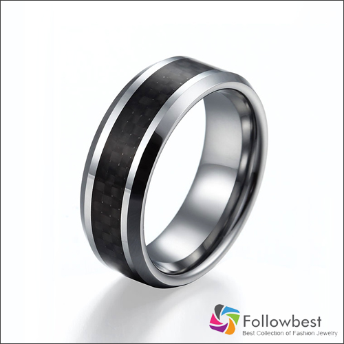 Fanshion Jewelry Black Carbon Fiber Tungsten Carbide Rings Mens Wedding Band Size 6 13 Free