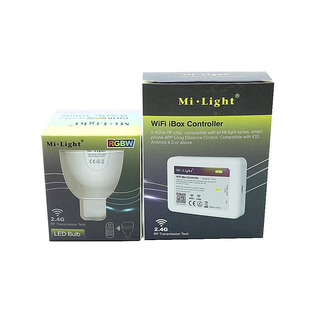 RGBW/WW GU10 5W Mi.Light Dimmable 86-265V Smart Milight LED Bulb Lamp Light+ WIFI Wireless controller LED lampara rgbw e27 6w wifi led bulbs 2 4g smart phone control colors adjustable dimmable smart lamp milight free shipping