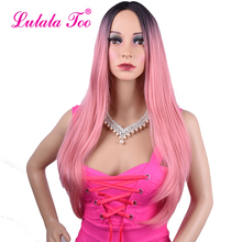 Long Paste Light Pink Straight Synthetic Wig For Black Women Heat Resistant Rose Gold Peach Natural Hair African American Wig