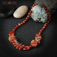 KCALOE Red Chunky Necklaces Collars Necklace Women Jewellery Handmade Natural Onyx Stone Crystal Beaded Choker Necklace