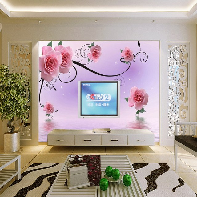 New Can Customized Wall Stickers Art Large Big Mural Pink Rose 3d  Three Dimensional Wallpaper Part 86