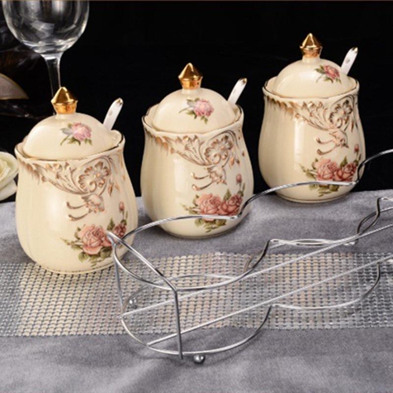 3pcs lot European style high grade ceramic jar with iron shelves Classic flower salt shaker Creative