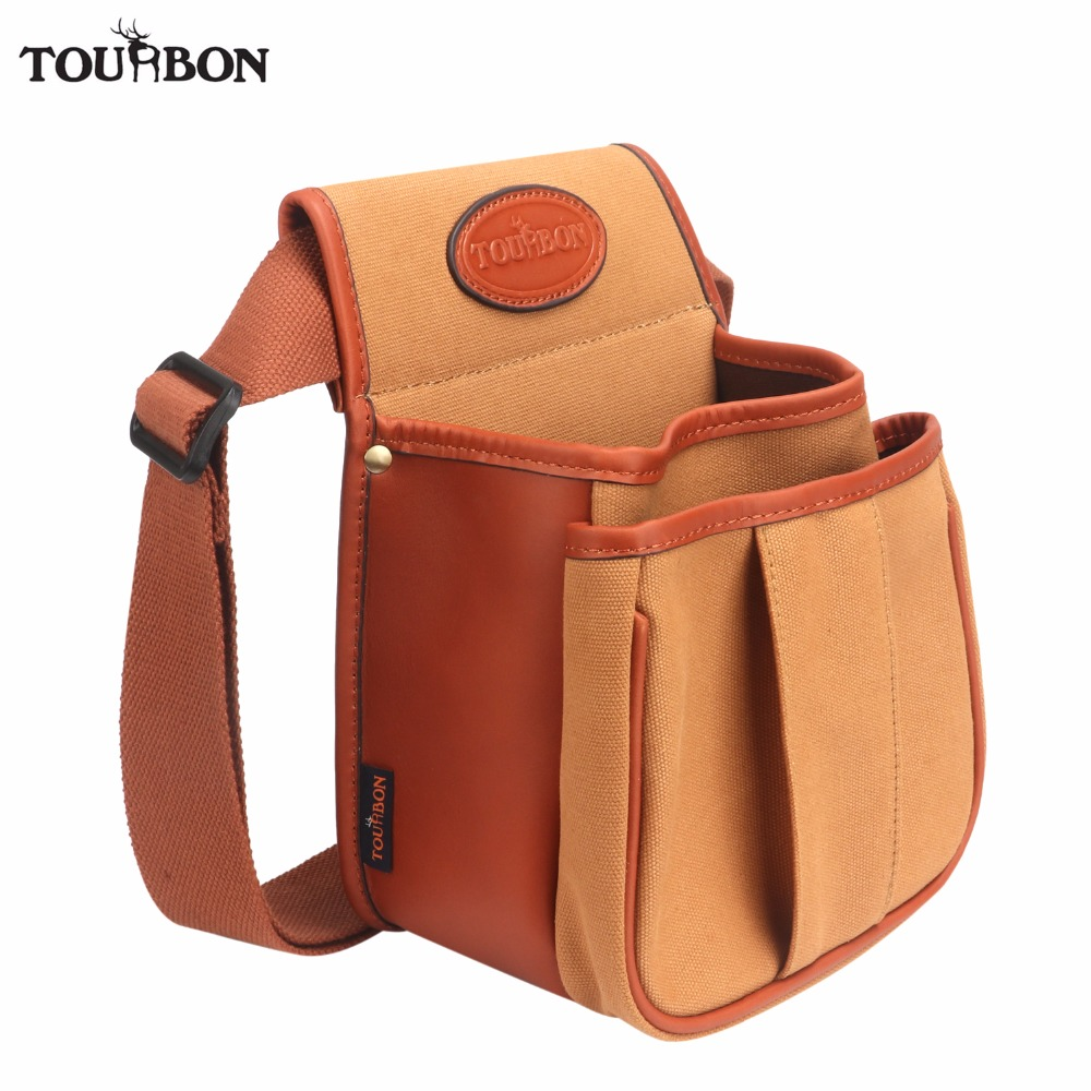 Tourbon Hunting Tactical Gun Cartridges Bag Shooting Ammo Shells Case Canvas Leather Pouch with Two Pocket