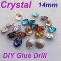 By04 14 mm 10 pçs/lote Rivoli contas de cristal cores rodada Pointback pedrinhas pedras perfeito brilhante DIY acessórios de vestuário