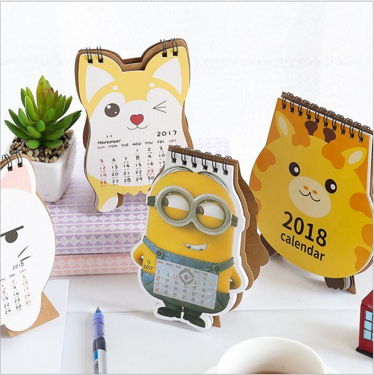 New Year 2018 Cartoon Cat Giraffe Minions Dog Desktop Mini Table Calendar DIY Planner Monthly Agenda Organizer Notebook Calendar