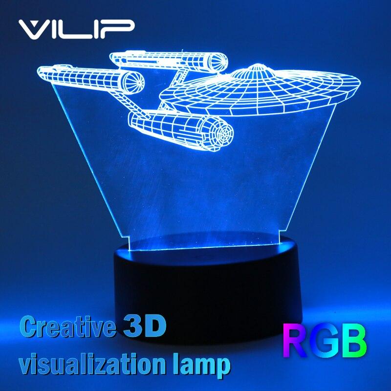 2017 Hot 3D Led Night Light Novelty Star Trek Bulbing USB Touch Switch Table Lamp Star