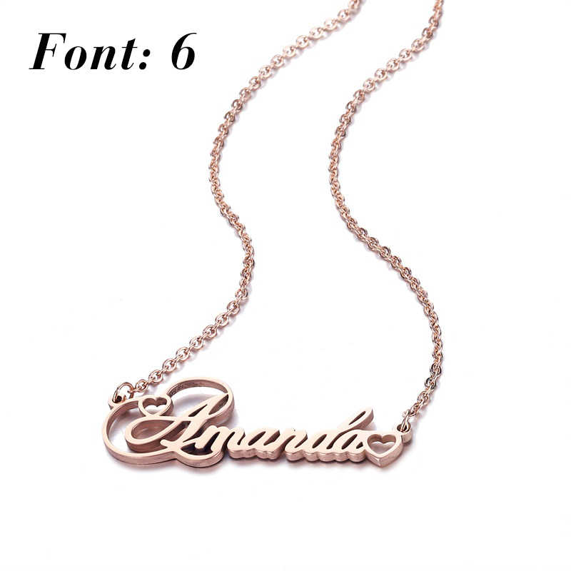 Personalized Name Necklace,Custom Name Necklace, Custom Love Necklaces Stainless Steel Jewelry, Customized Gift for Women Girls
