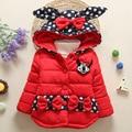 Baby Girls Cotton Hooded Coats Polka Dot Outerwear Winter Kids Coat Bowknot Children's Winter Clothing Girls Down & Parkas
