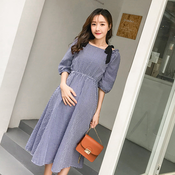 6607# Strapless A Line Plaid Maternity Long Dress Summer Fashion Slip Dress Clothes for Pregnant Women Sexy Pregnancy Party Dres a-line
