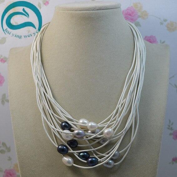Bijoux en perles d'eau douce ovales naturelles perles en pierre gemme collier de perles en cuir blanc 15 rangées 18-20 ''fermoir aimant