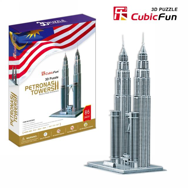Children favorite toy gift 3d puzzle paper model MC084H Petronas towers Kuala Lumpur hardcover edition free shipping