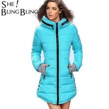 Длинные Стиль теплые женские пальто 2017 Зимняя мода вниз хлопковые парки Повседневная куртка с капюшоном утепленная парка на молнии хлопок Тонкий и пиджаки
