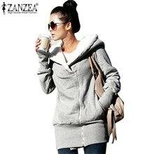 ZANZEA 2017 женские Худи пальто зимнее теплое пальто из флиса на молнии верхняя одежда толстовки с капюшоном длинная куртка плюс Размеры 3XL