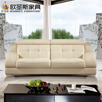 Beautiful Korean Sectional Provicial Leather Sofa With Stainless Steel Legs Modern Euro Design Leather Sofa Set 321 Seat 625A