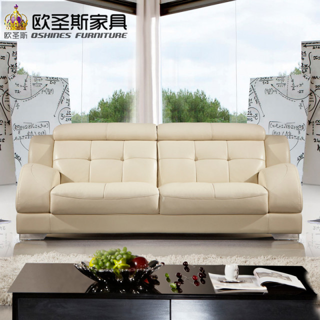 Beautiful Korean Sectional Provicial Leather Sofa With Stainless Steel Legs Modern Euro Design