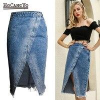 HCYO Women Midi Skirts High Waist Large Size Cotton Jeans Skirt Women Casual Tassels Washed Denim Skirts Sexy Split MIDI Skirt