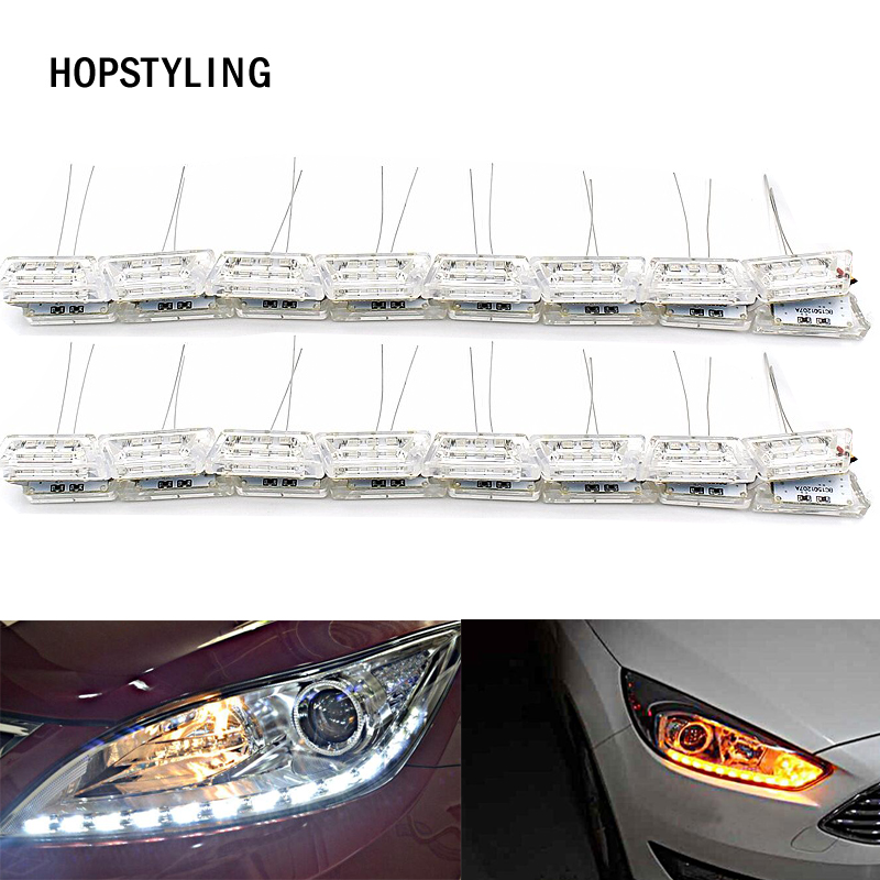 2x drl 50cm led daytime running light kit Sequential Strip Flow Day Light white & yellow Turn Signal lamp Waterproof