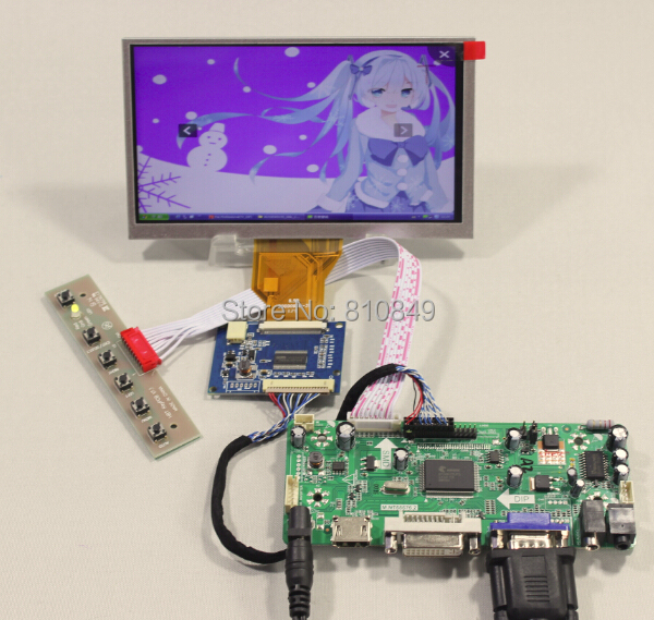HDMI DVI VGA Audio LCD Control Board+VS-TCON50-V1 Tcon Board+6.5 AT065TN14 800x480 LCD Screen hdmi dvi vga audio lcd control board for 12 1inch lq121s1lg75 800 600 lcd panel