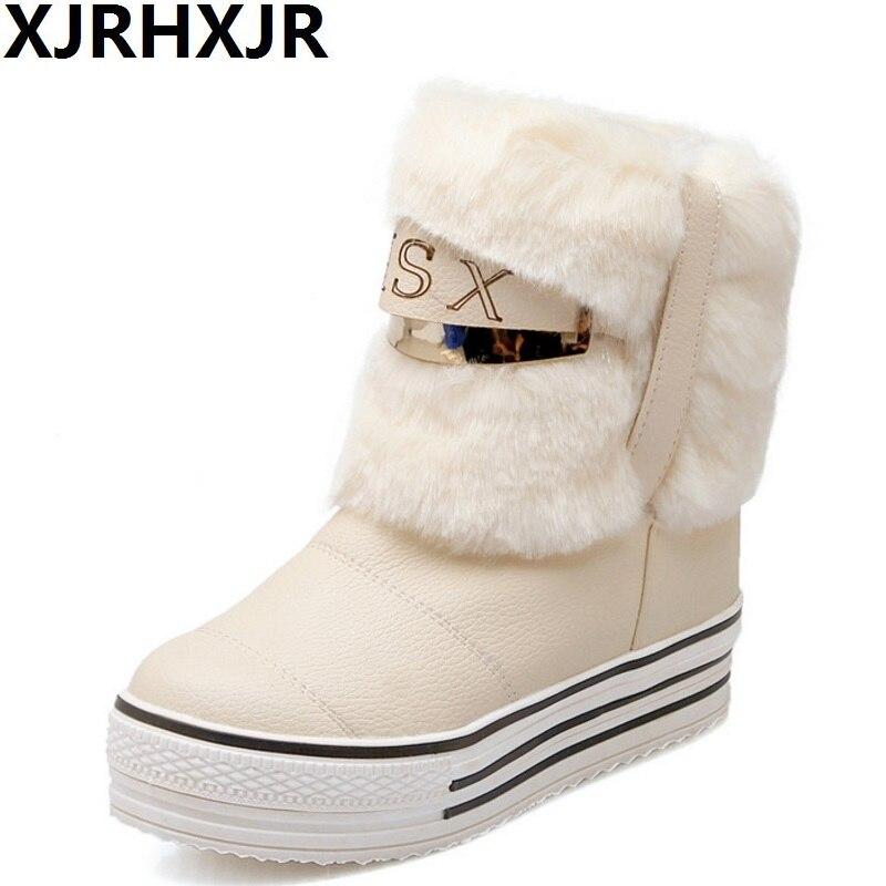 Large Size 34-43 Fashion Snow Boots Warm Fur Women Shoes Woman Thick Platform Winter Home Plush Comfortable Ankle Boots цена