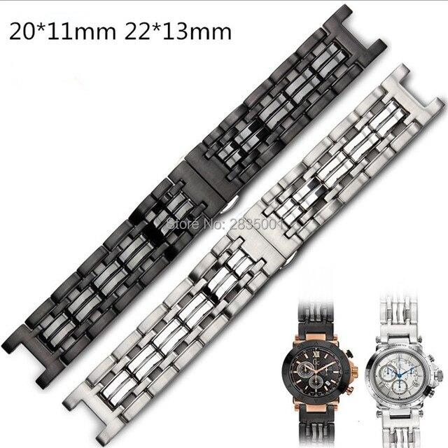 Браслет из нержавеющей стали 316L с вогнутым ртом, 22*13 мм 20*11 мм, серебристый, черный браслет с застежкой бабочкой для часов GC