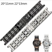Bracelet de montre en acier inoxydable 316l, à bouche Concave, 22*13mm 20*11mm, noir argent avec fermoir papillon pour montre GC, nouveauté