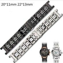 Correa de reloj de acero inoxidable 316L, boca cóncava de 22x13mm, 20x11mm, pulsera negra de plata con cierre de mariposa para reloj GC