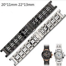 New Arrival 316L Stainless Steel Watchband Concave Mouth 22*13mm 20*11mm Silver Black Bracelet with Butterfly Clasp For GC Watch