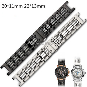 Image 1 - New Arrival 316L Stainless Steel Watchband Concave Mouth 22*13mm 20*11mm Silver Black Bracelet with Butterfly Clasp For GC Watch
