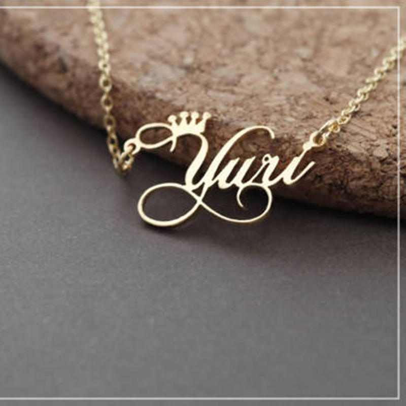 16 18 20 22 Inch Personalized Memorial Signature Name Necklaces For Women Crown Jewelry Stainless Steel Custom <font><b>Ketting</b></font> <font><b>Bff</b></font> Gifts image