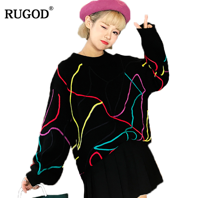 Rugod 2018 New Winter Sweater Women pullover Knitted Jumper o-neck Long Sleeve contrast multicolor christmas sweater tops women