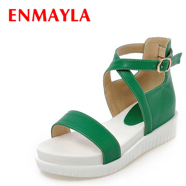 9dc3664fd074 ENMAYLA Summer Flats Platform Sandals Shoes Woman Mid Heels Open Toe Fashion  Cute Gladiator Sandals Women Green Black Shoes