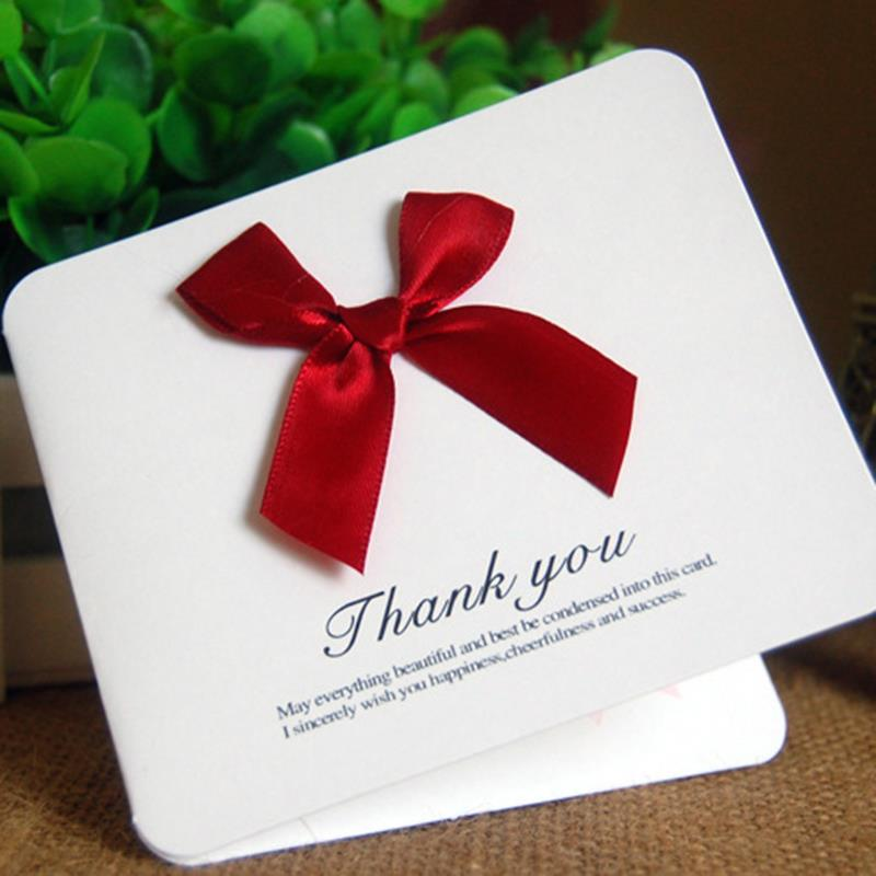 200pcs/lot Lovely Ribbon Bowknot Paper Cards Thanks Giving Card Wedding Banquet Party Invitation Favors WS302