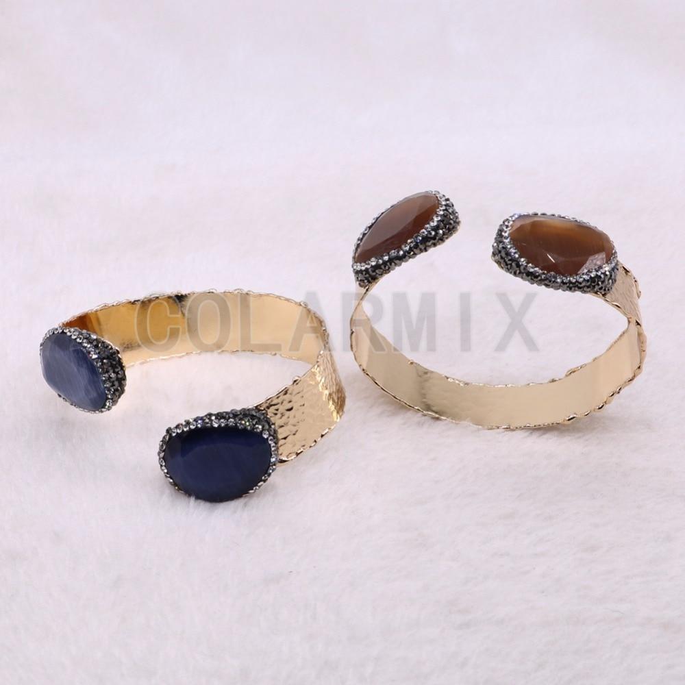 Haute qualité facette oeil de chat pierre bracelet Double pierre bijoux en métal bracelet bracelet bijoux en gros 3 pièces 3633-in Bracelets from Bijoux et Accessoires    2
