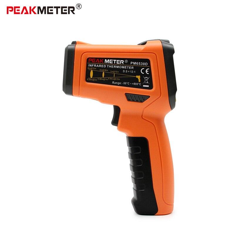 Pantalla LCD PEAKMETER PM6530D digital láser infrarrojos termómetro humedad y punto de rocío IRT K-tipo de ambiente de luz UV herramienta