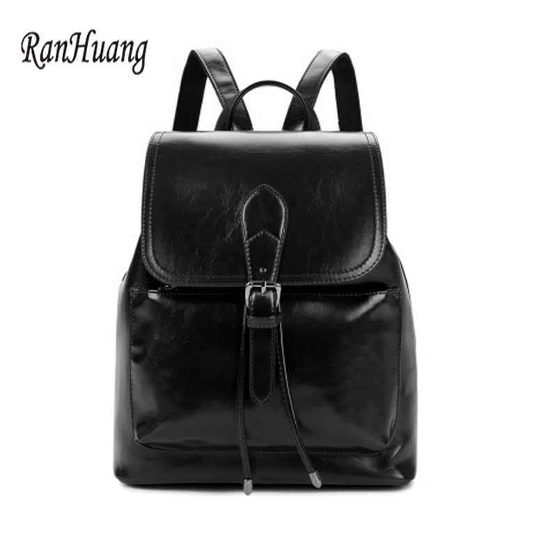 RanHuang Women PU Leather Backpack 2017 High Quality School Bags For Teenagers Girls Ladies Designer Backpack