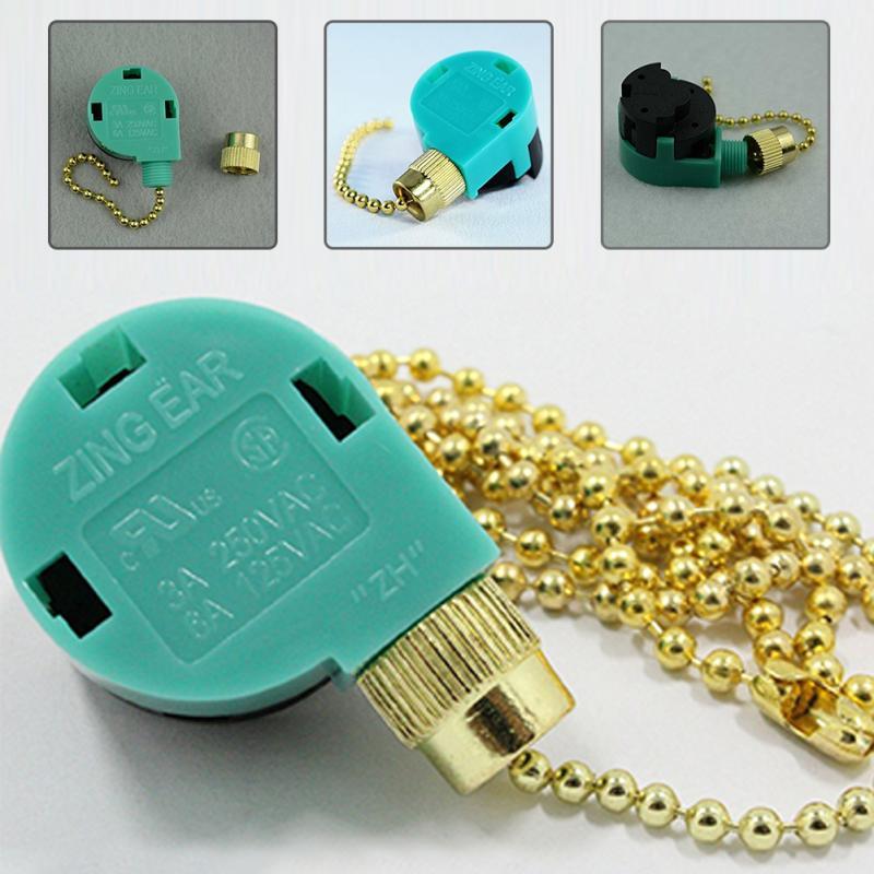 Zipper Switch 3 Speed Pull Chain Control Nickel Fan Switch