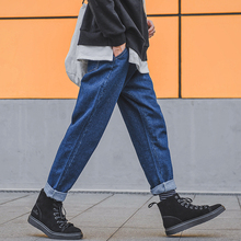 Fashion Casual Men's Jeans Spring And Autumn New 28-33 Large Size Loose Straight Pants Black Blue Personality Youth Popular